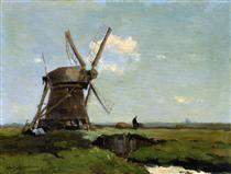 Mill in landscape - Johan Hendrik Weissenbruch