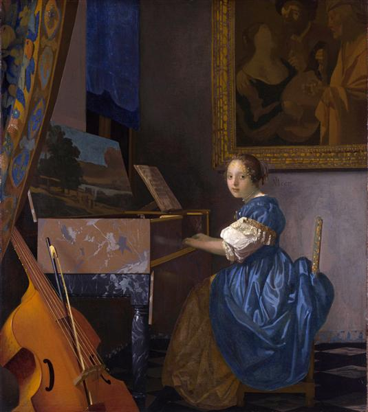 A young woman seated at a virginal (A Lady Seated at a Virginal), c.1670 - c.1672 - Ян Вермеер