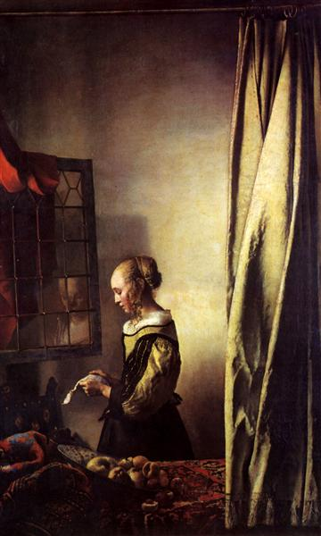 girl reading a letter at an open window reading a letter at an open window 1657 johannes 21954 | girl reading a letter at an open window 1657.jpg!Large