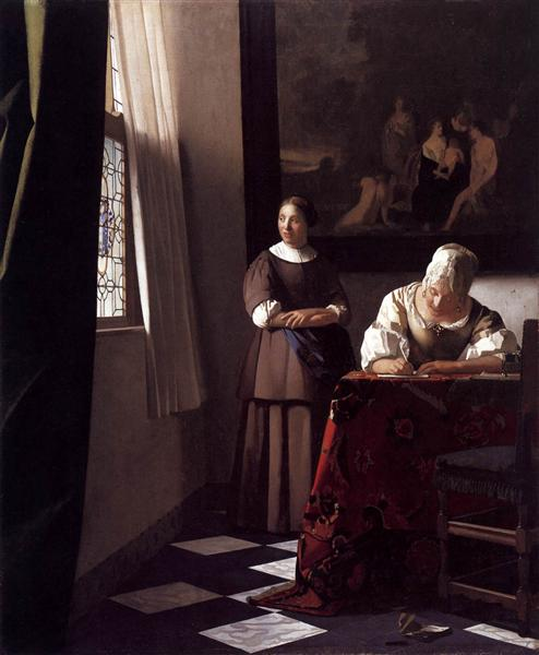 Lady Writing a Letter with Her Maid, c.1670 - Johannes Vermeer