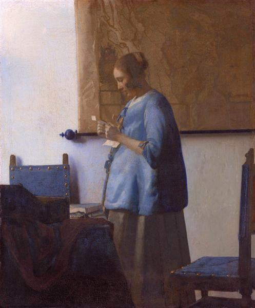 Woman reading a letter (Woman in Blue Reading a Letter), c.1662 - c.1663 - Johannes Vermeer