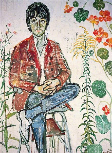 Paul McCartney and Flowers, 1967 - John Bratby