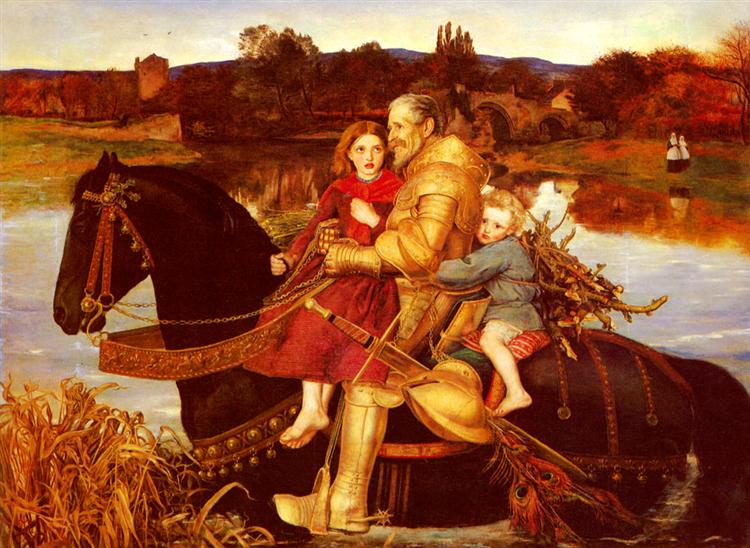 A Dream of the Past: Sir Isumbras at the Ford, 1857 - John Everett Millais