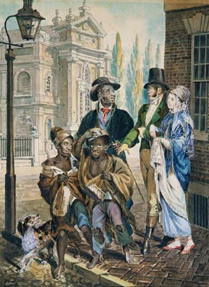 Wordly Folk Questioning Chimney Sweeps and Their Master Before Christ Church in Philadelphia, 1813 - John Lewis Krimmel