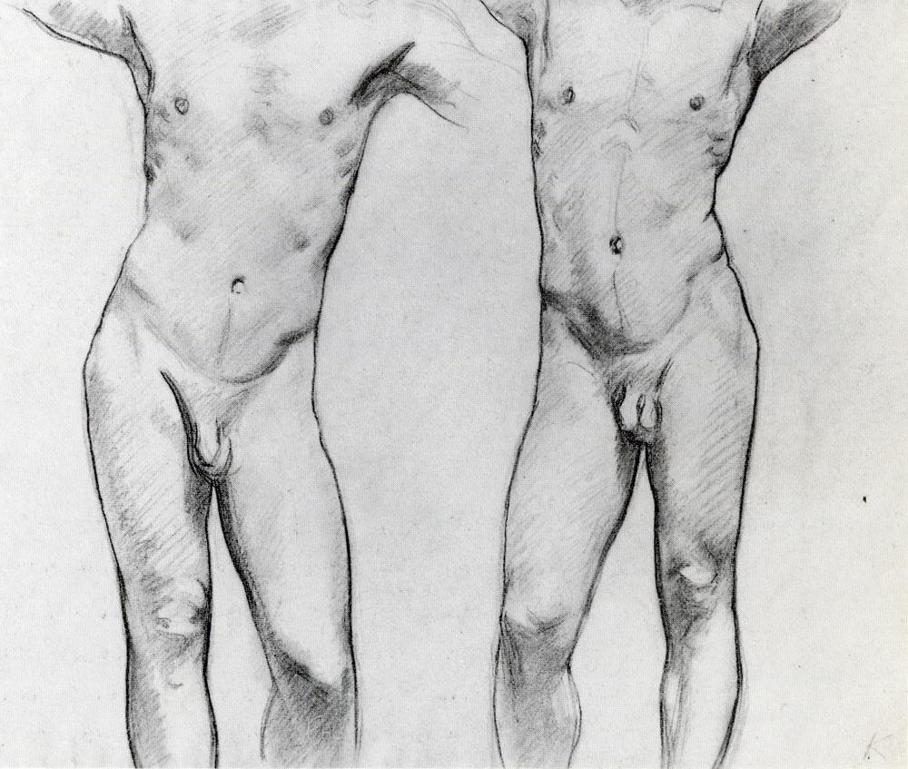 torsos of two male nudes Matt, Nude Male Model oil on canvas