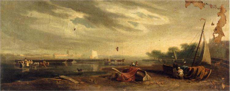 A River Landscape on the Thames - John Varley