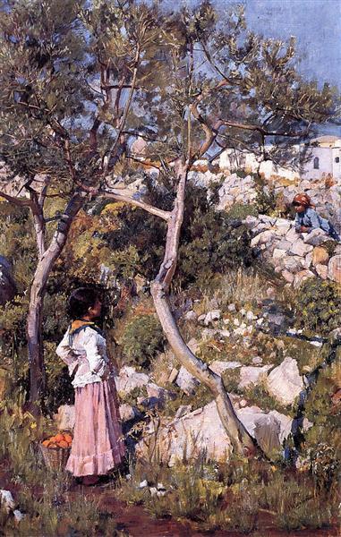 Two Little Italian Girls by a Village, c.1889 - John William Waterhouse