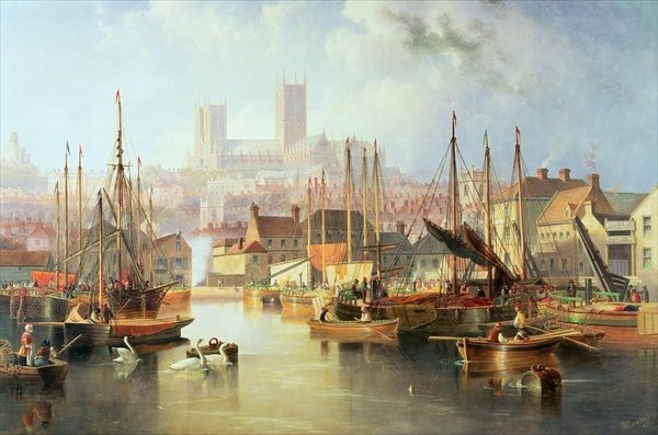 The Brayford Pool and Lincoln Cathedral - John Wilson Carmichael
