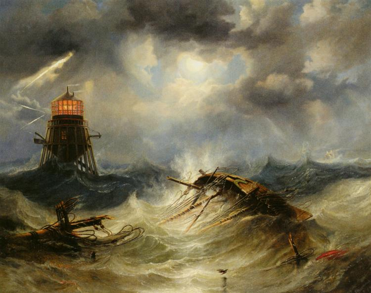The Irwin Lighthouse, Storm Raging - John Wilson Carmichael