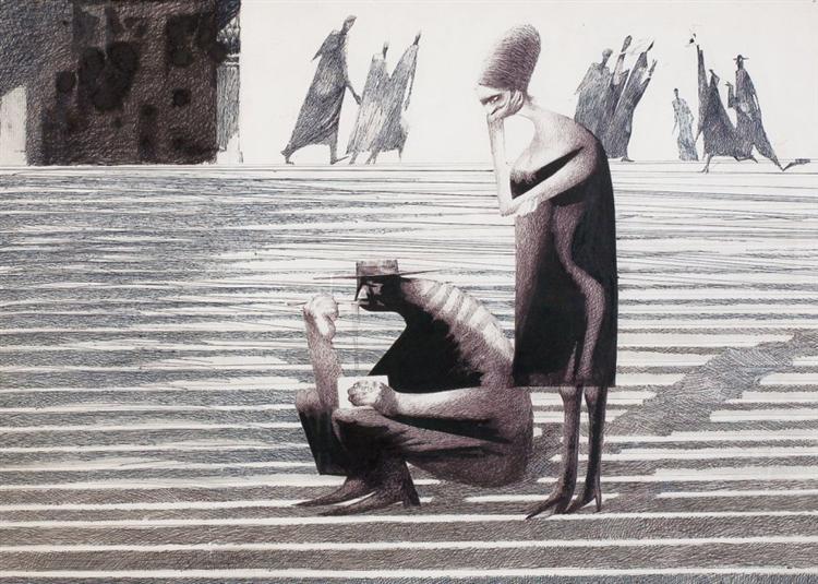 Le repas sur les marches, 1960 - Jules Perahim