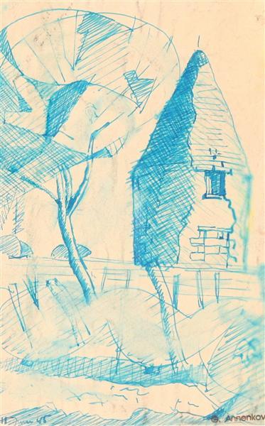 Spire and Trees, 1945 - Juri Pawlowitsch Annenkow