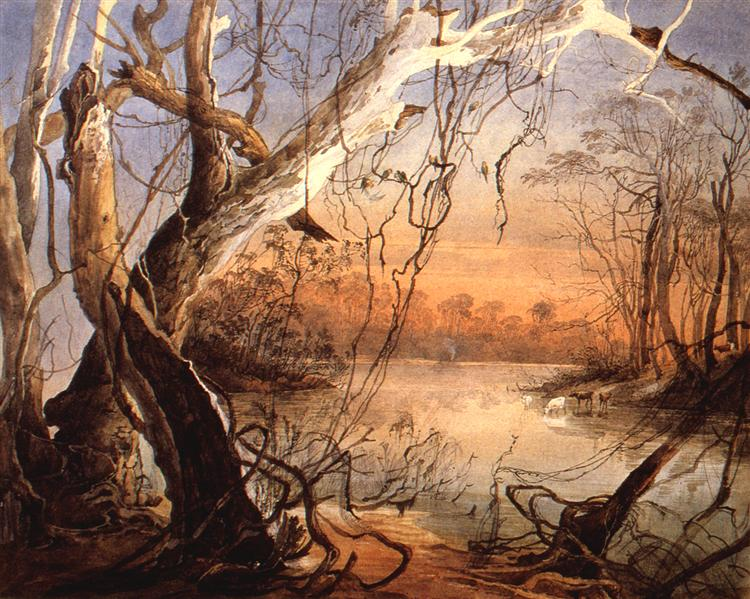 Confluence of the Fox River and the Wabash in Indiana, 1832 - Karl Bodmer