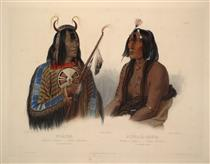 Noapeh, an Assiniboin Indian and Psihdja-Sahpa, a Yanktonan Indian, plate 12 from Volume 2 of 'Travels in the Interior of North America' - Karl Bodmer