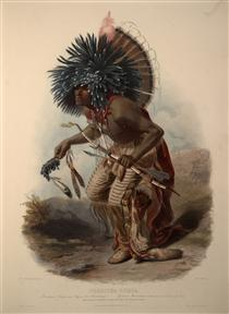 Pehriska-Ruhpa, Minatarre Warrior in the Costume of the Dog Dance, plate 23 from Volume 2 of 'Travels in the Interior of North America' - Karl Bodmer