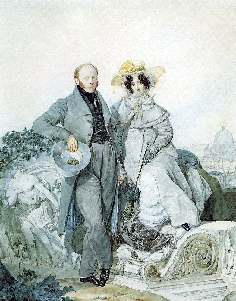 Portrait of G. N. and V. A. Olenin, 1827