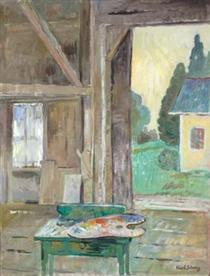 View from the Studio (Green Table with Palette) - Karl Schrag