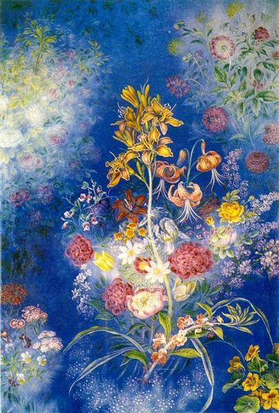 Flowers on the blue background, 1942 - 1943 - Kateryna Bilokur