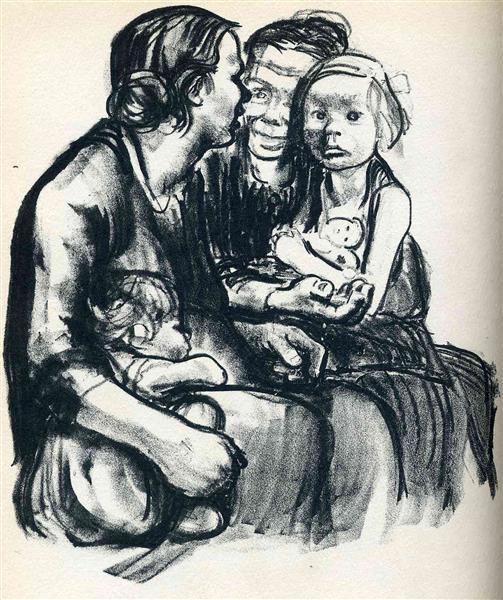 Two Chatting Women with Two Children, 1930 - Kathe Kollwitz