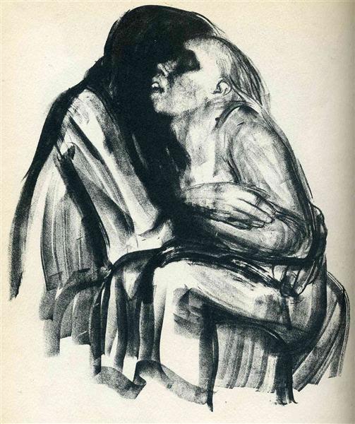 Death with Girl in Her Lap - Kathe Kollwitz