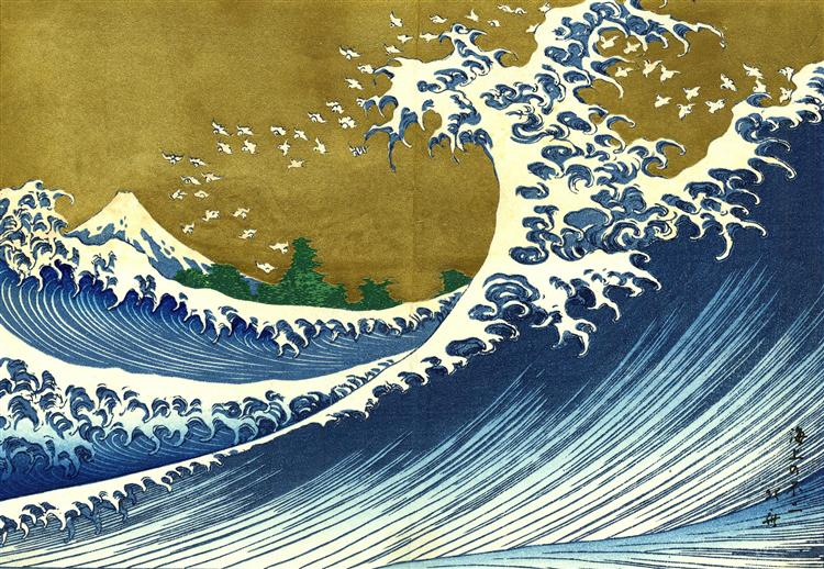 A colored version of the Big wave - Katsushika Hokusai