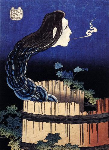 Un fantasma mujer apareció de un pozo - Katsushika Hokusai