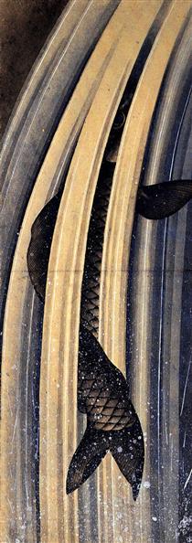 Carpa che salta su una cascata - Katsushika Hokusai