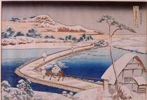 Il ponte del pontone a Sano nella provincia di Kozuka - Katsushika Hokusai