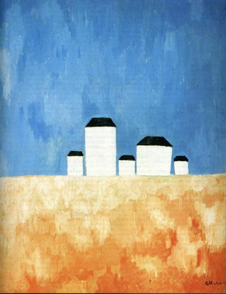 Landscape with Five Houses, c.1932 - Kazimir Malevich