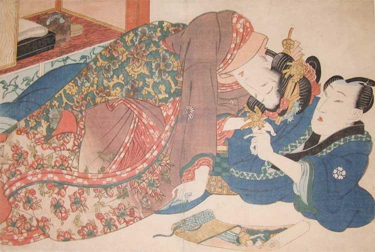 Shunga Scroll, 1838 - Keisai Eisen