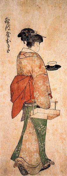 Okita the tea house girl - Kitagawa Utamaro