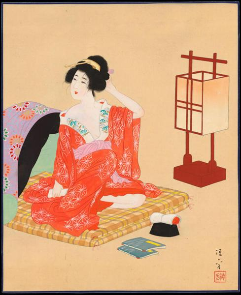Bijin Preparing for Sleep - Kiyokata Kaburagi