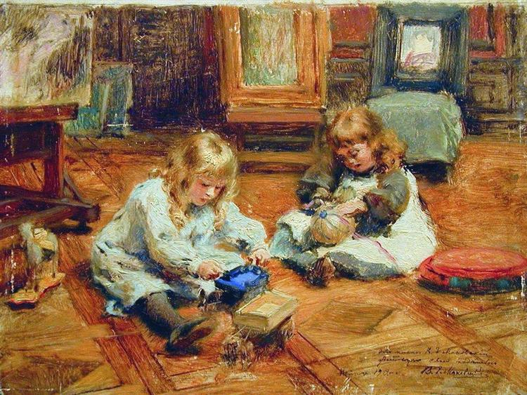 Children playing in the Workshop, c.1880 - Konstantin Makovsky