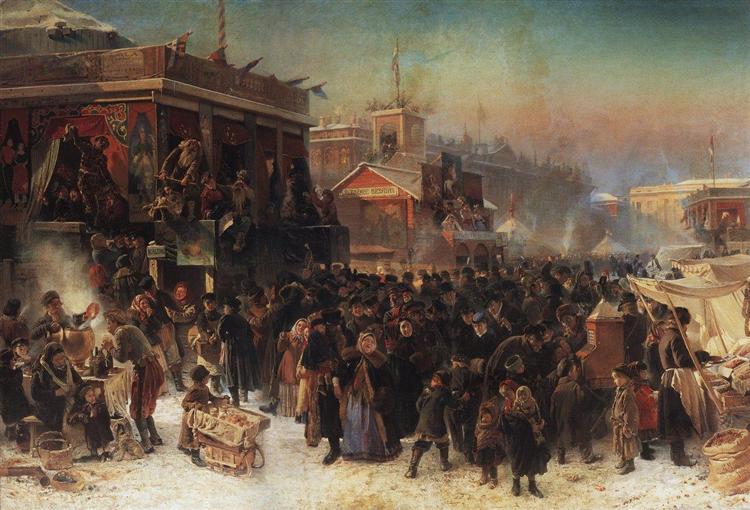 Fair Booths on Admiralty Square, St. Petersburg, 1869 - Constantin Makovski