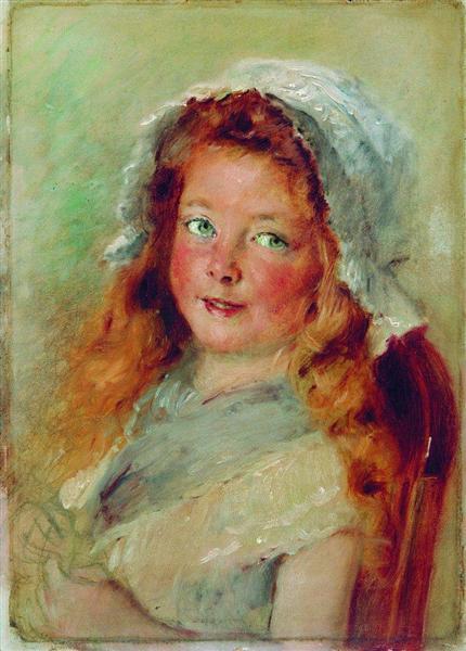 Girl in Bonnet - Konstantin Makovsky