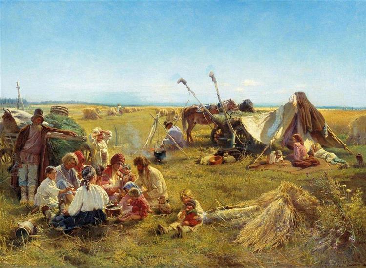 Peasant Dinner during Harvesting, 1871 - Konstantin Makovsky