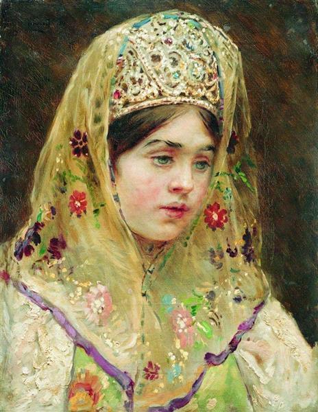 Portrait of the Girl in a Russian Dress, c.1910 - Konstantin Makovsky