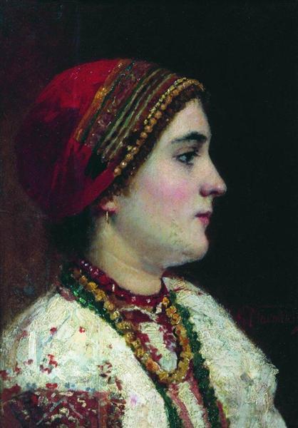 Portrait of the Girl in a Ukrainian Dress - Konstantin Makovsky