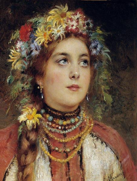 Russian Beauty in Summer Garland - Konstantin Makovsky