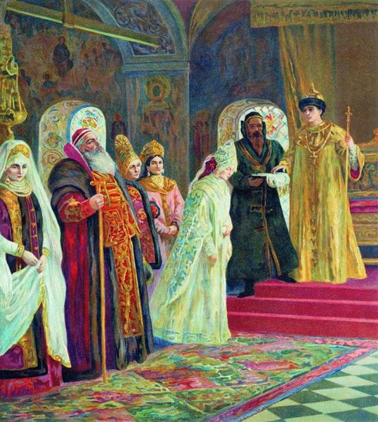 The choice of a bride by Alexis of Russia - Constantin Makovski
