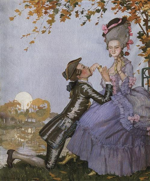 A Youth on His Knees in Front of a Lady, 1916 - Konstantin Somov
