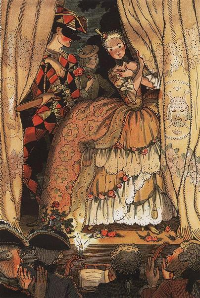 Book of the Marquise. Illustration 1, 1918 - Konstantín Sómov