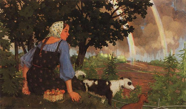 The Girl with the Mushroom under the Rainbow, 1922 - Konstantin Somov