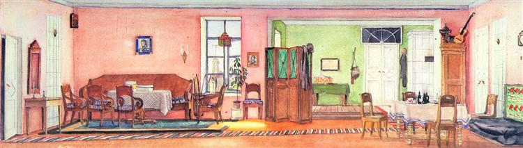 Gogol's comedy sketch for the 'Inspector'. Room in the house the mayor, 1938 - Konstantin Yuon