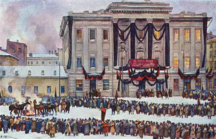 In those days. At the House of Unions in the days of Lenin's funeral, 1926 - Konstantin Yuon