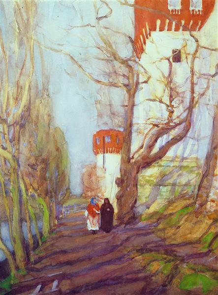 Near The Novodevichy Monastery in spring, 1900 - Konstantin Yuon