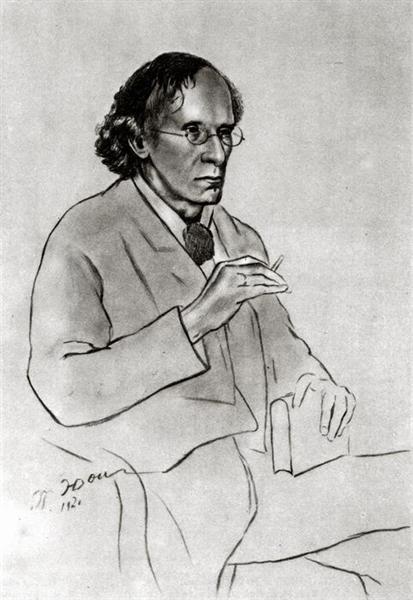 Portrait of the writer Vyacheslav Ivanov, 1920 - Костянтин Юон
