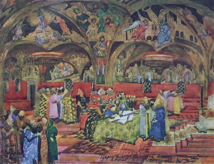 Stage design for Mussorgsky's opera 'Boris Godunov', 1913 - Konstantin Yuon