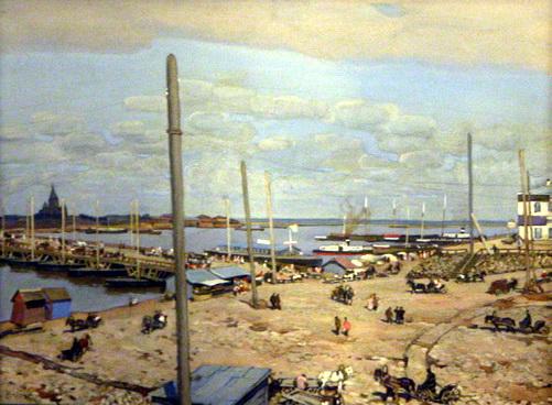 The bridge across the Oka River in Nizhny Novgorod, 1908 - Konstantin Yuon