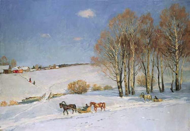 Winter Landscape with Horse-drawn Sleigh, 1915 - Konstantin Yuon