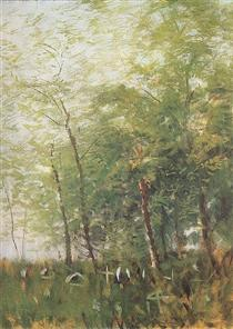 Edge of a Forest with Crosses - Laszlo Mednyanszky